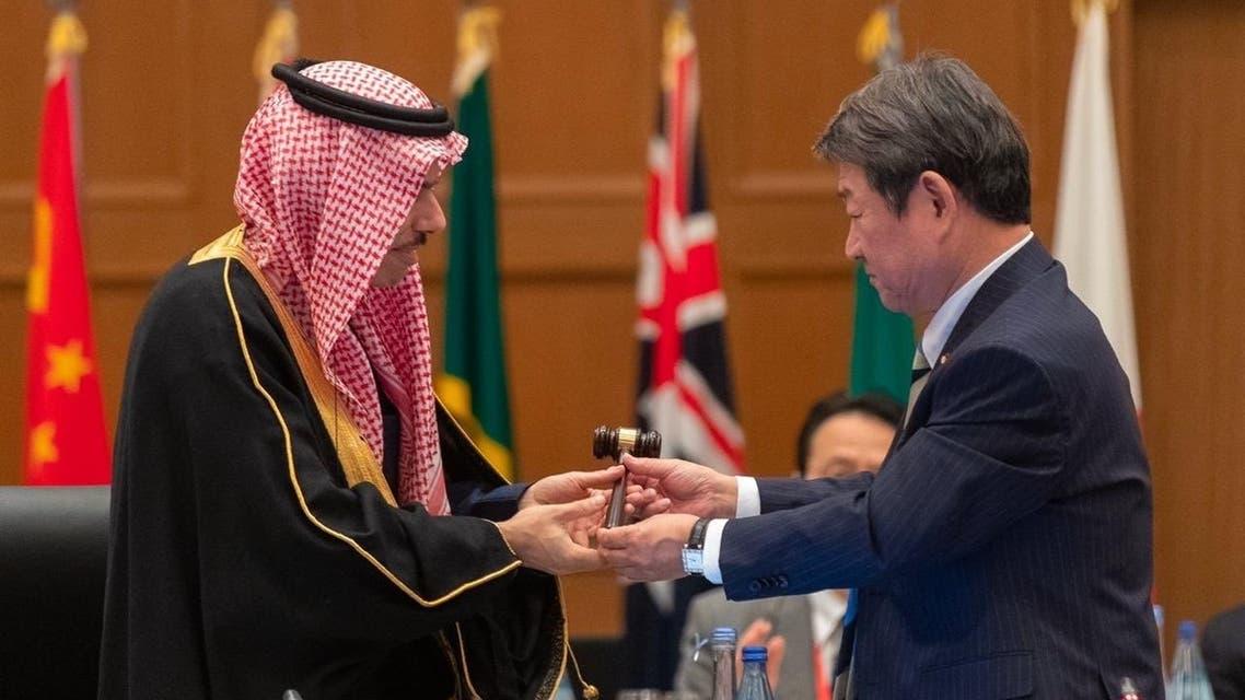 الأمير فيصل بن فرحان أثناء تسلم رئاسة مجموعة العشرين