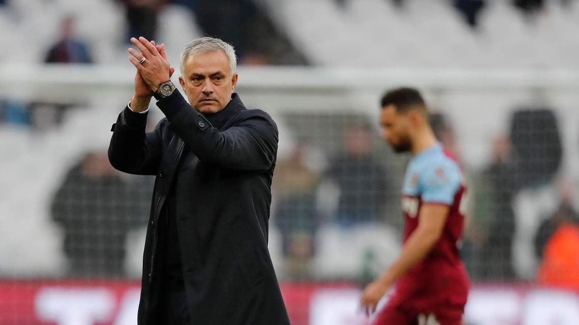 Mourinho applauds at fans at the end of the English Premier League soccer match between West Ham and Tottenham, at London stadium, in London, Saturday, Nov. 23, 2019.(AP)
