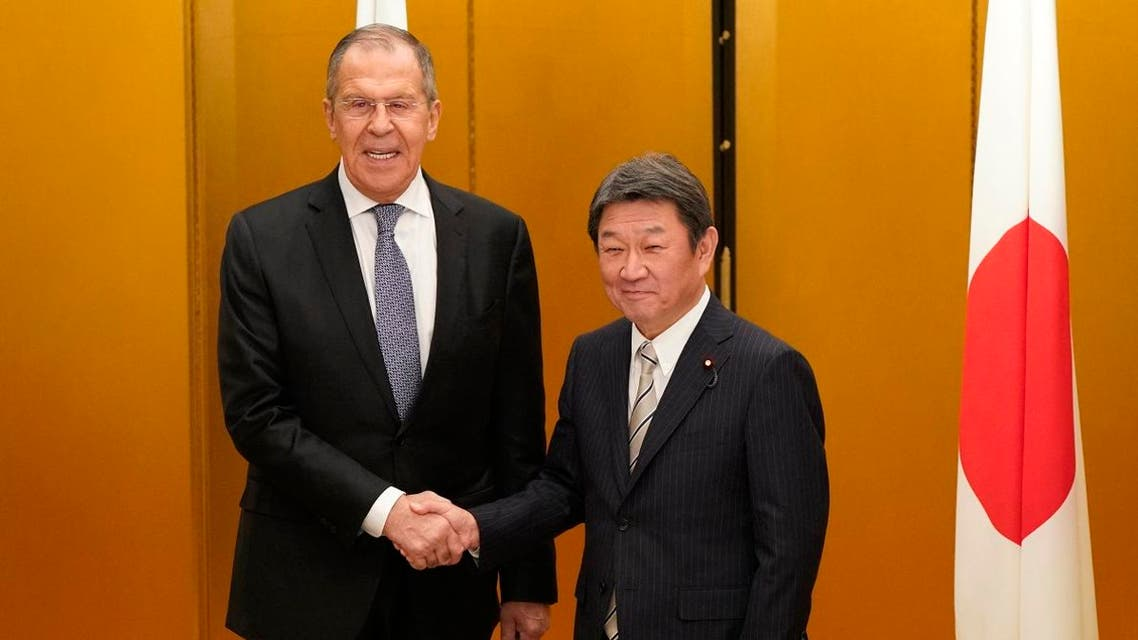 Japanese Foreign Minister Toshimitsu Motegi (R) shakes hands with Russian Foreign Minister Sergey Lavrov at the start of a bilateral meeting ahead the G20 Foreign Ministers' meeting in Nagoya on November 22, 2019. FRANCK ROBICHON / POOL / AFP
