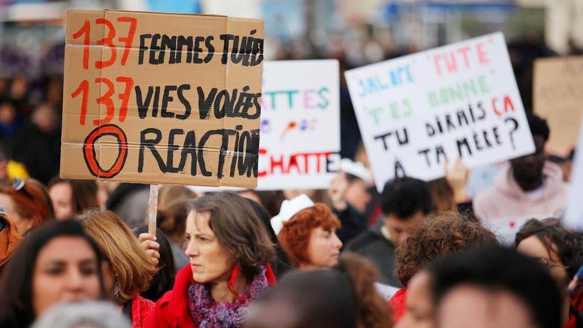 People attend a demonstration against femicide and violence against women in Marseille, France, November 23, 2019. (Reuters)