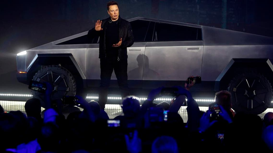 Tesla CEO Elon Musk introduces the Cybertruck at Tesla's design studio on November 21, 2019, in Hawthorne, California. (AP)