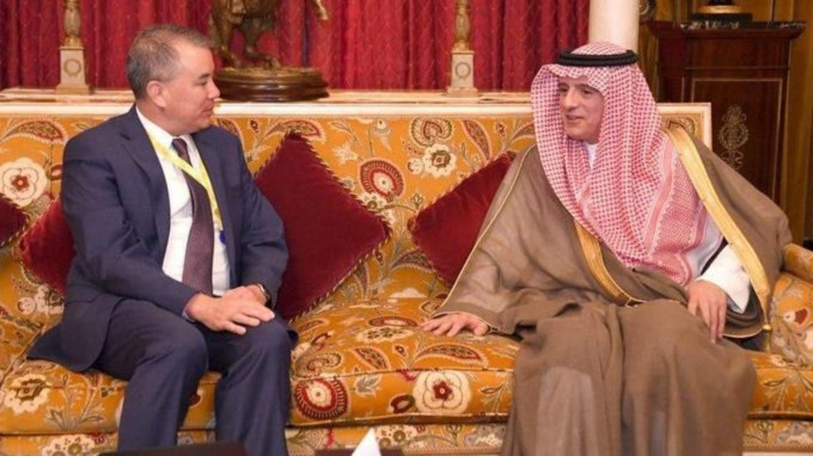 Saudi Arabia's Minister of State for Foreign Affairs Adel al-Jubeir meets with US Department of Defense Under Secretary for Policy John Rood in Mnama, Bahrain on November 23, 2019. (KSAmofa/Twitter)
