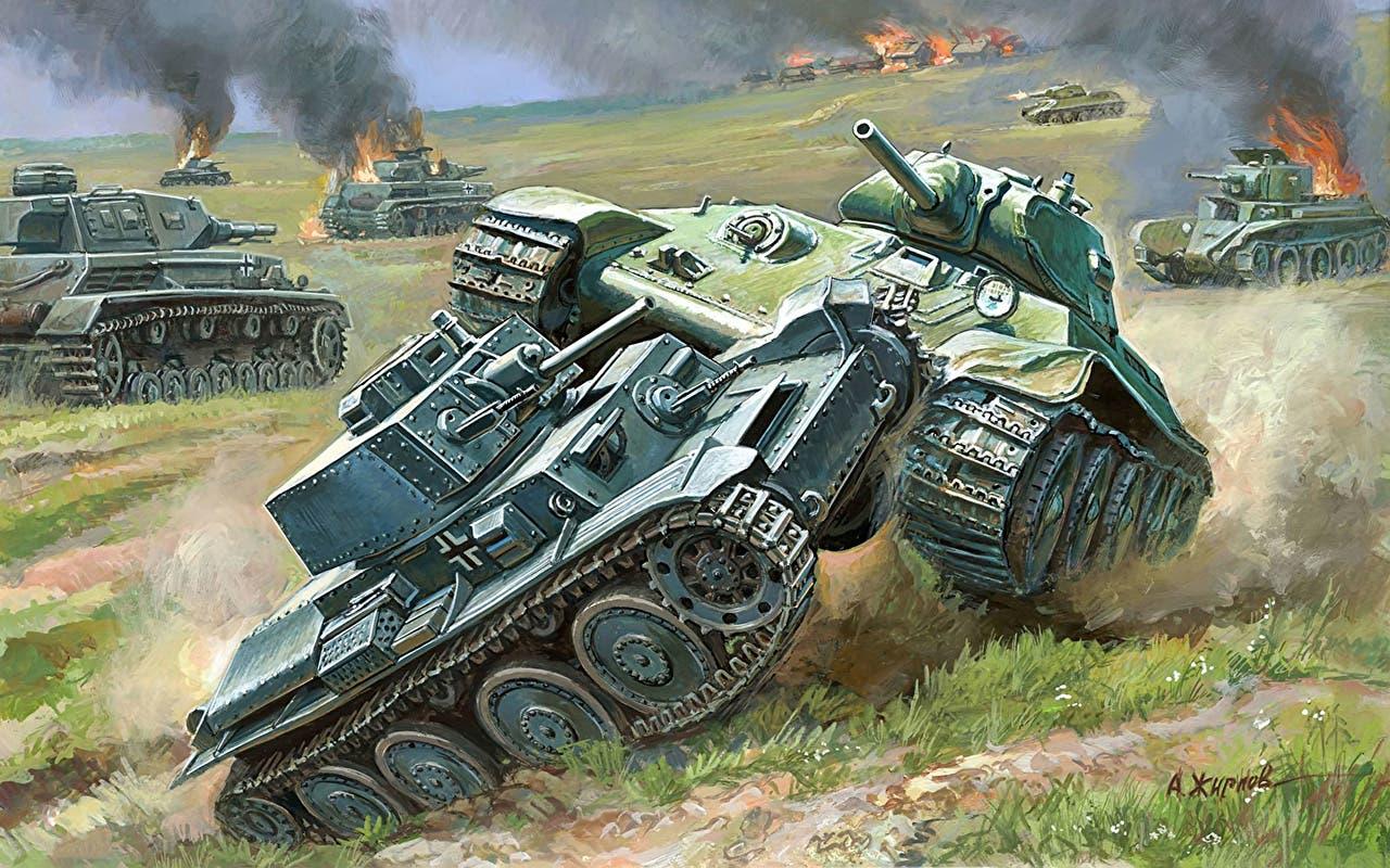 رسم تخيلي يجسد سحق دبابة سوفيتية لأخرى ألمانية بالحرب العالمية