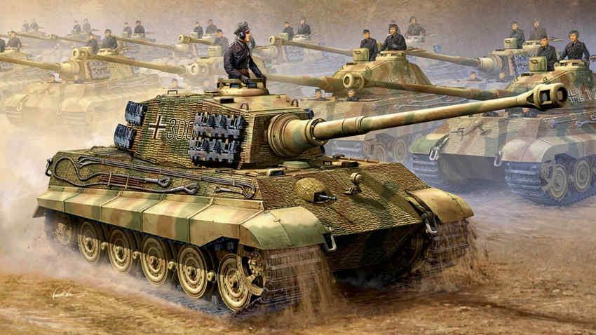 لوحة تجسد عددا من دبابات التايغر الألمانية