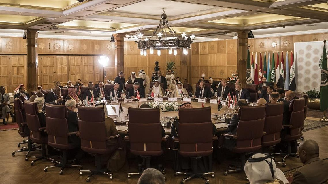 Arab foreign ministers attend an emergency meeting at the Arab League headquarters in the Egyptian capital Cairo, on November 25, 2019. (AFP)