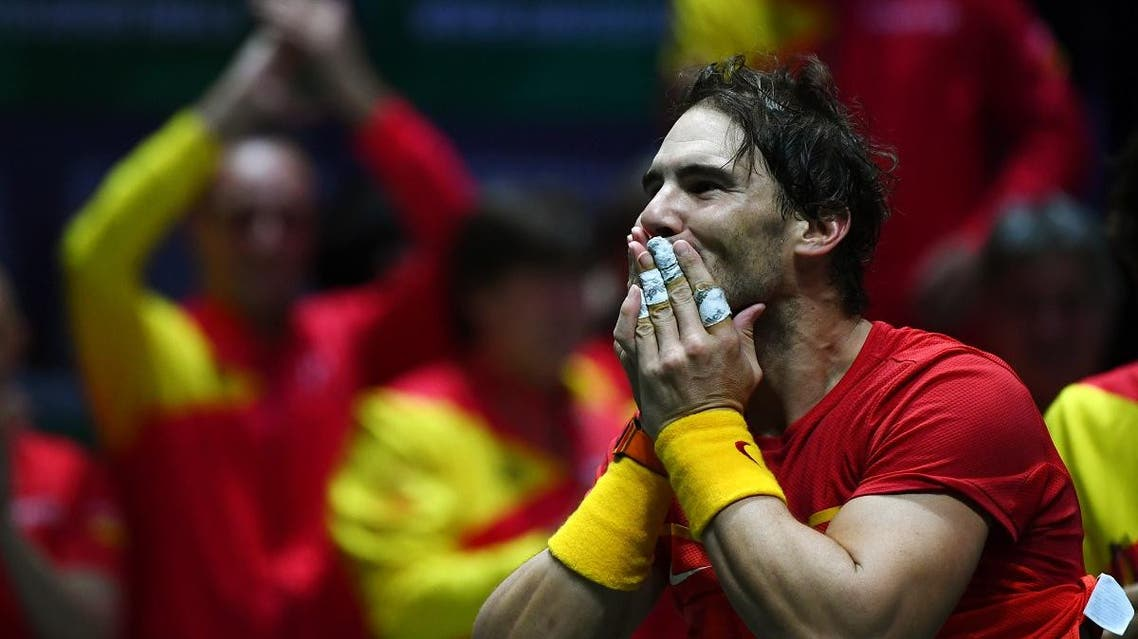 Spain's Rafael Nadal celebrates after defeating Canada's Denis Shapovalov during the final singles tennis match between Canada and Spain at the Davis Cup Madrid Finals 2019 in Madrid on November 24, 2019. (AFP)
