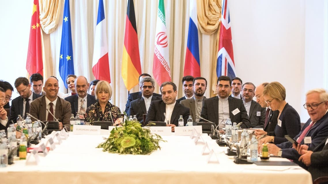 AFP Abbas Araghchi (Center R), political deputy at the Ministry of Foreign Affairs of Iran, and Helga Schmid (Center L), Secretary General of the European Union's External Action Service (EEAS), take part in a meeting of the Joint Commission of the Joint Comprehensive Plan of Action (JCPOA) attended by the E3+2 (China, France, Germany, Russia, United Kingdom) and Iran on July 28, 2019 at the Palais Coburg in Vienna Austria