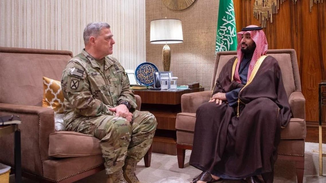 Saudi Arabia's Crown Prince meeting with US Chairman of the Joint Chiefs of Staff General Mark Milley. (Supplied)
