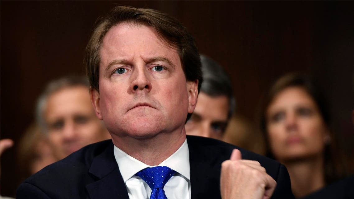 Then-White House counsel Don McGahn listens as Supreme court nominee Brett Kavanaugh testifies on Capitol Hill on September 27, 2018. (File photo: AP)