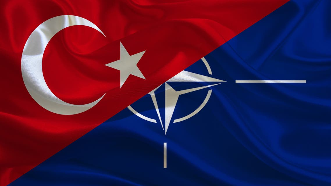 Turkish and NATO flag stock photo