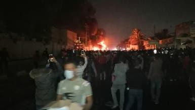 شاهد.. ألسنة النيران تلتهم مبنى قنصلية إيران في النجف