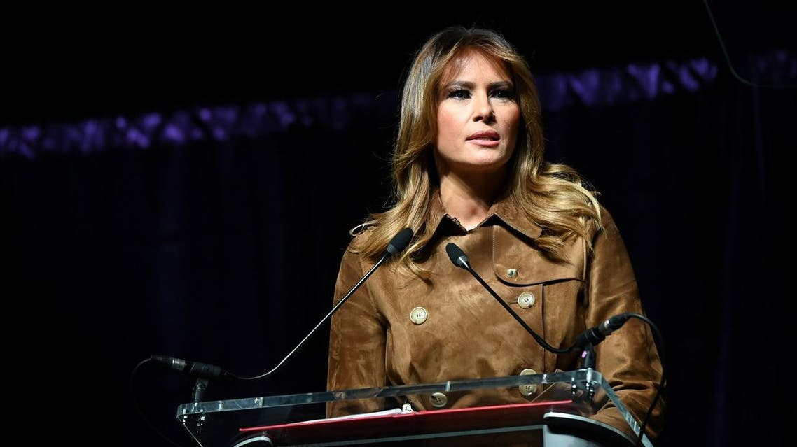 US first lady Melania Trump speaks at a youth summit on opioid awareness at the UMBC Event Center in Baltimore, Maryland, on November 26, 2019. (Reuters)