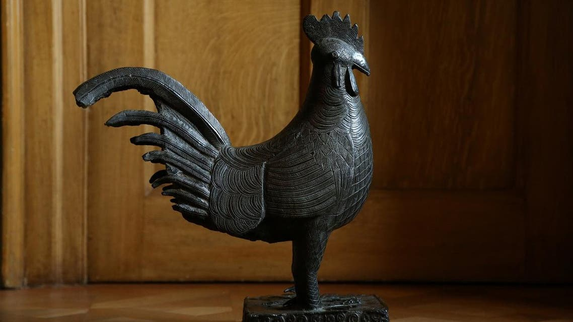 A Benin bronze cockerel that is to be repatriated to Nigeria from Jesus College, Cambridge University, is pictured in this undated handout in Cambridge, Britain. (Chris Loades/Handout via Reuters)