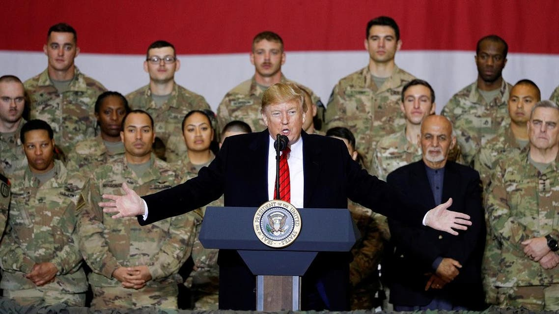 US President Donald Trump makes an unannounced visit to US troops at Bagram Air Base in Afghanistan. (Reuters)