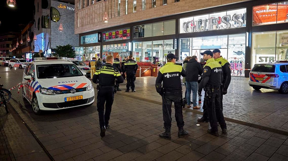 Dutch police block a shopping street after a stabbing incident in the center of The Hague, Netherlands. (AP)