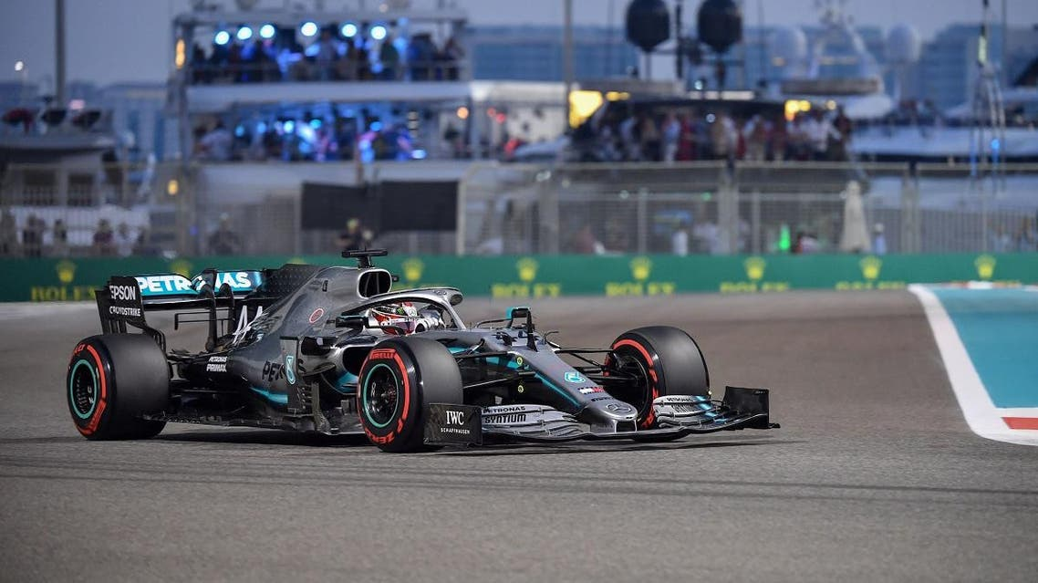 Mercedes' British driver Lewis Hamilton steers his car during the qualifying session at the Yas Marina Circuit in Abu Dhabi, a day ahead of the final race of the season, on November 30, 2019. (AFP)