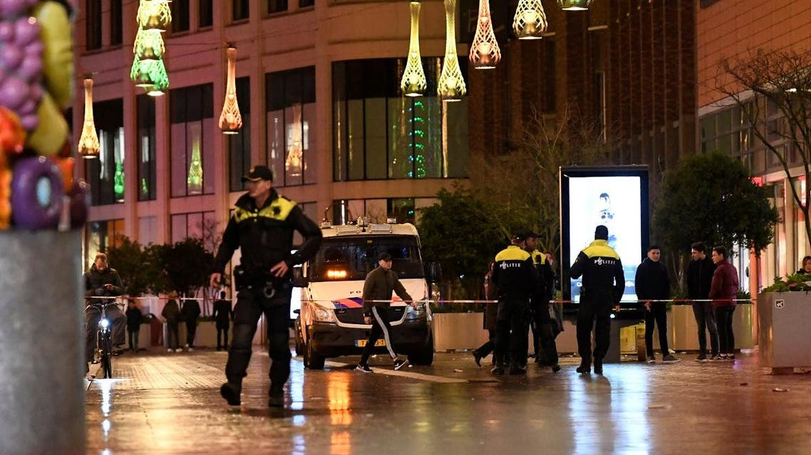 Police officers work near the site of a stabbing on a shopping street in The Hague, Netherlands. (Reuters)