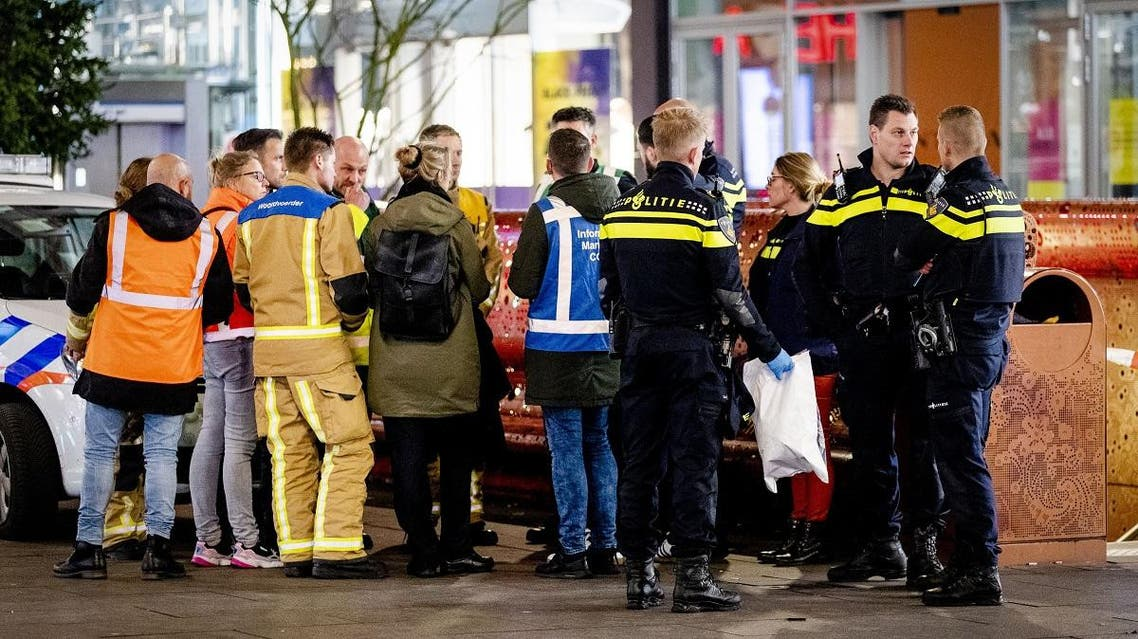 Police arrive at the Grote Marktstraat, one of the main shopping streets in the centre of the Dutch city of The Hague, after several people were wounded in a stabbing incident on November 29, 2019. (AFP)