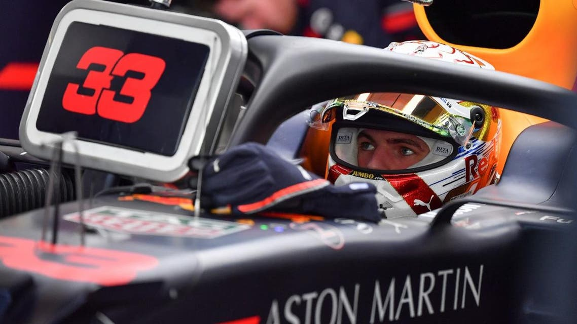 Red Bull's Dutch driver Max Verstappen is pictured in his garage during the third practice session at the Yas Marina Circuit in Abu Dhabi, a day ahead of the final race of the season, on November 30, 2019. (AFP)