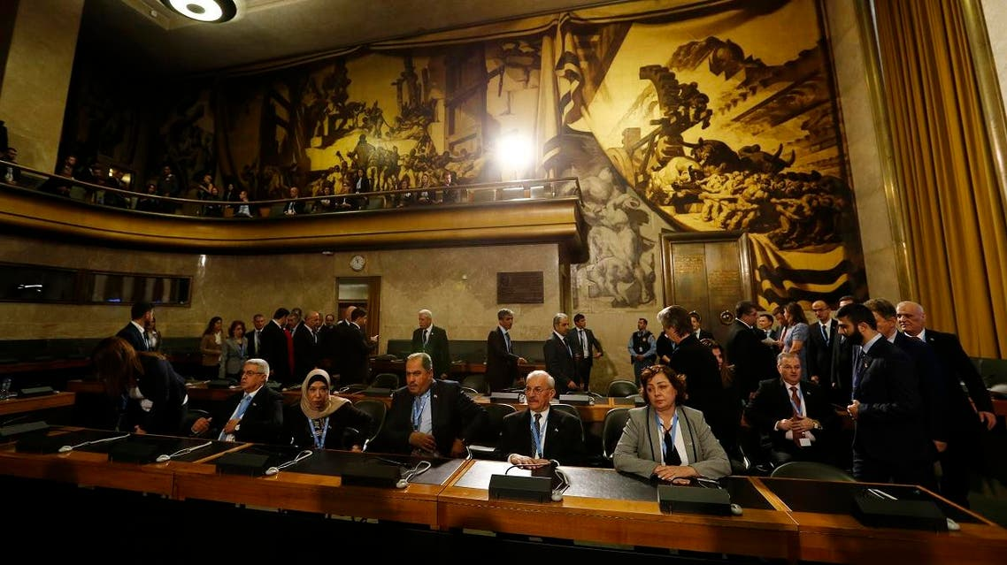 Members of the Syrian government delegation attend the first meeting of the new Syrian Constitutional Committee at the United Nations in Geneva on October 30, 2019. (AFP)