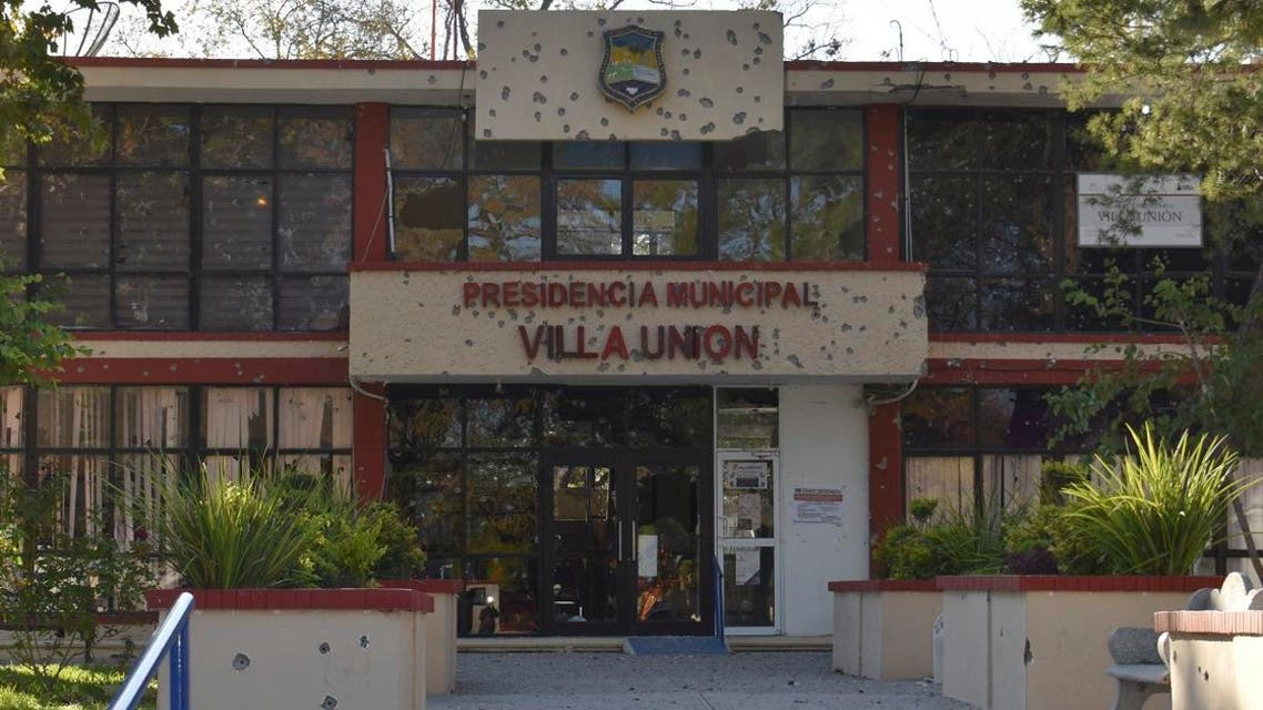 The City Hall of Villa Union is riddle with bullet holes after a gun battle between Mexican security forces and suspected cartel gunmen, Saturday, Nov. 30, 2019. (AP)