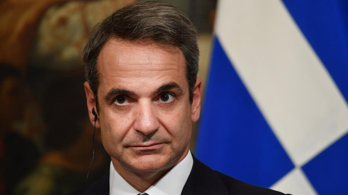 Greek Prime Minister Kyriakos Mitsotakis looks on during a joint press conference with his Italian counterpart following their meeting at Palazzo Chigi on November 26, 2019 in Rome.  (AFP)