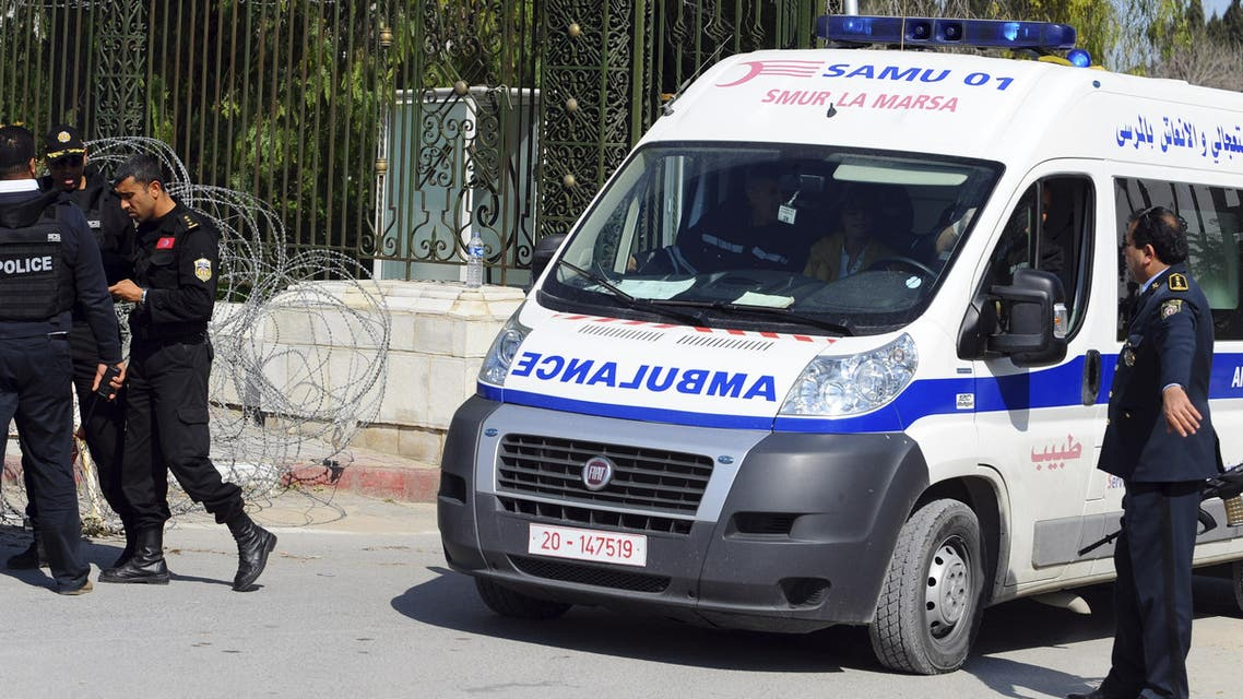 An ambulance leaves the Bardo museum Wednesday, March 18, 2015 in Tunis, Tunisia after gunmen opened fire at the leading museum in Tunisia's capital. (AP)