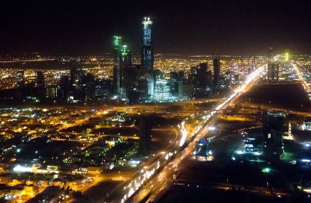 The skyline of Riyadh, Saudi Arabia is seen at night in this aerial photograph from a helicopter. (AFP)