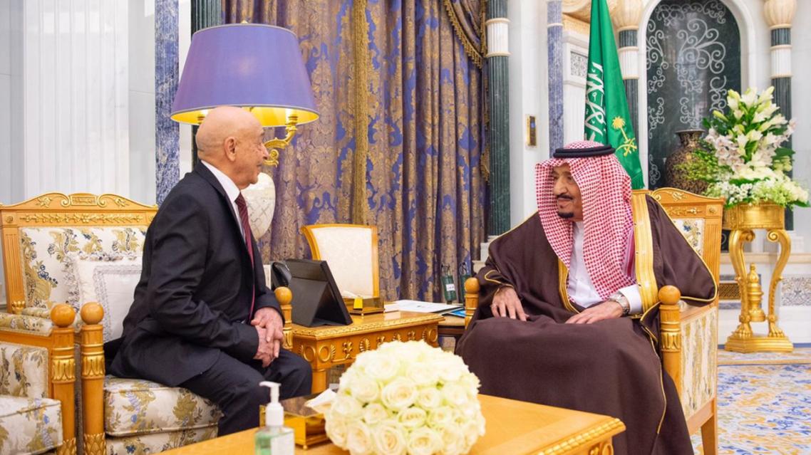 الملك سلمان بن عبدالعزيز ورئيس مجلس النواب الليبي عقيلة صالح