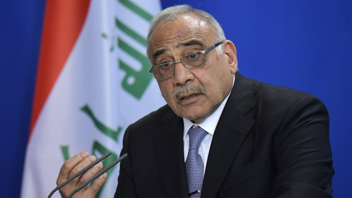 (FILES) In this file photo taken on April 30, 2019, Iraqi Prime Minister Adel Abdel Mahdi speaks during a press conference at the German Chancellery in Berlin. Iraq's parliament approved the resignation of the embattled cabinet today after two months of violent unrest that have left more than 420 people dead and thousands mourning them in nationwide marches.