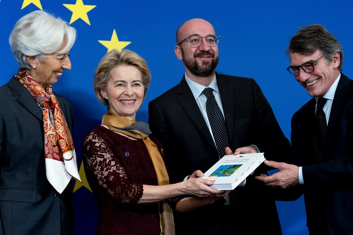 (From L) President of the European Central Bank (ECB) Christine Lagarde, European Commission President-elect Ursula von der Leyen, European Council President Charles Michel, European Parliament president David Sassoli pose for a picture to celebrate the 10th anniversary of the Lisbon Treaty on December 1, 2019. (AFP)