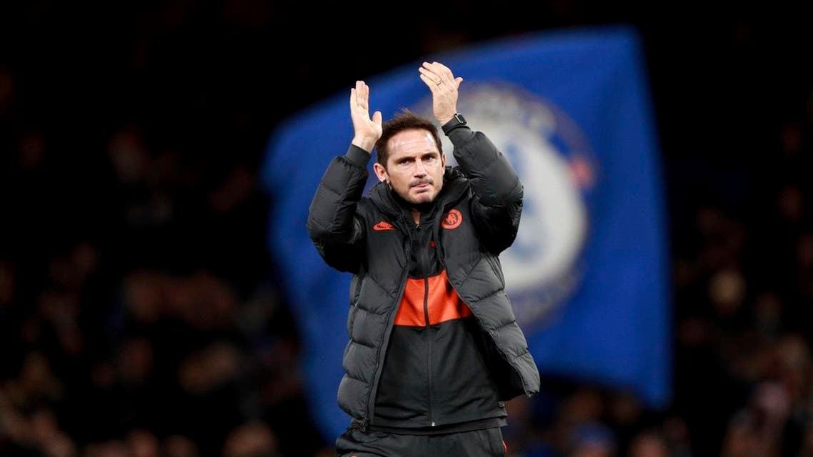 Chelsea's head coach Frank Lampard applauds to supporters at the end of the Champions League, group H, match between Chelsea and Ajax. (File photo: AP)