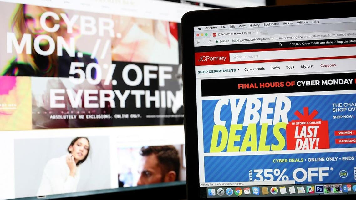 In this photo illustration, an ad seen on the JCPenney website for a Cyber Monday sale is displayed on laptop computers on November 27, 2017 in San Anselmo, California. Cyber Monday will likely be the biggest shopping day in US e-commerce history. (AFP)