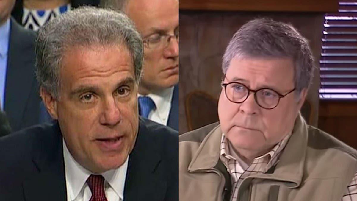 المفتش العام لوزارة العدل مايكل هورويتز ووزير العدل الأميركي وليم بار