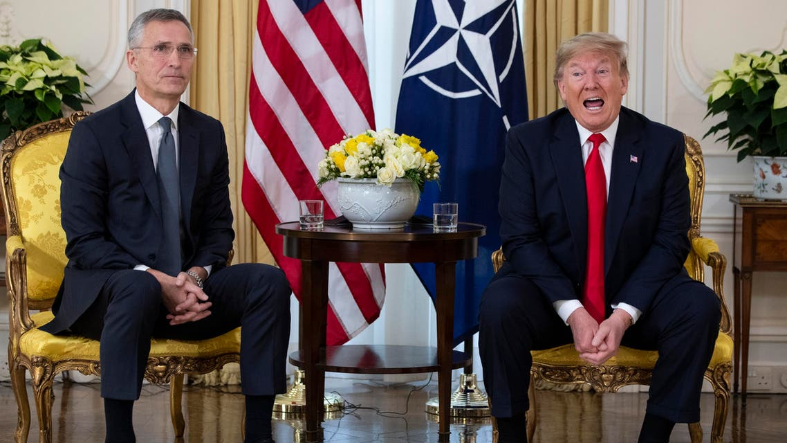 Stoltenberg with Trump at NATO 3-12-19 - AP