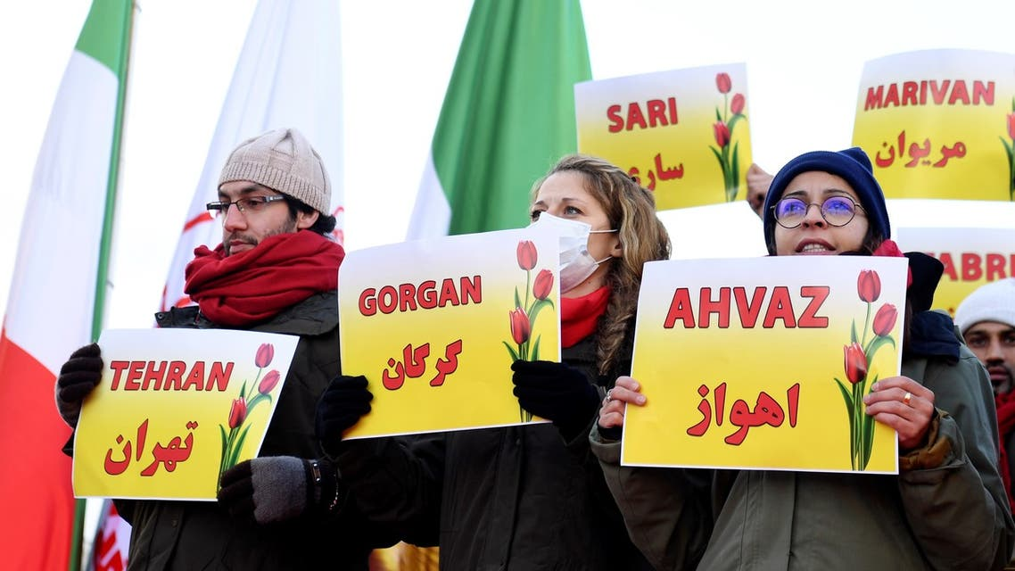 Iranians gather to protest against situation in Iran on the Parvis des droits de l'Homme in Paris on December 2, 2019.