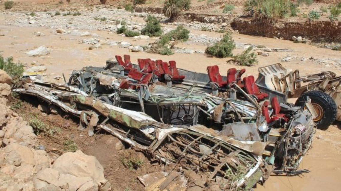A picture taken on September 8, 2019 shows the wreckage of a bus, following a flood-related accident in southern Morocco that left at least six people dead. (File photo: AFP)