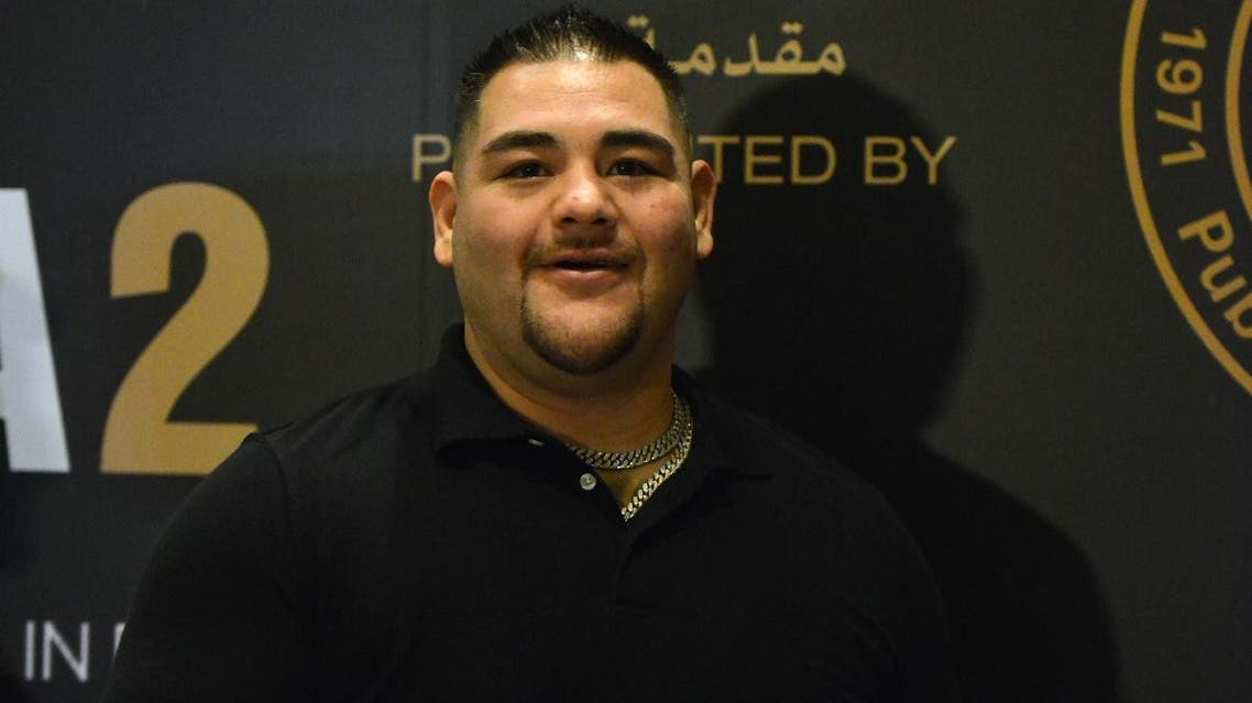 "Mexican-American heavyweight boxing champion Andy Ruiz Jr in the Saudi capital Riyadh on December 2, 2019, ahead of the upcoming ""Clash on the Dunes"" on December 7m against Anthony Joshua. (AFP)"