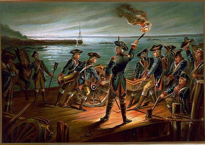لوحة تجسد انسحاب عدد من أفراد الجيش القاري من بروكلين