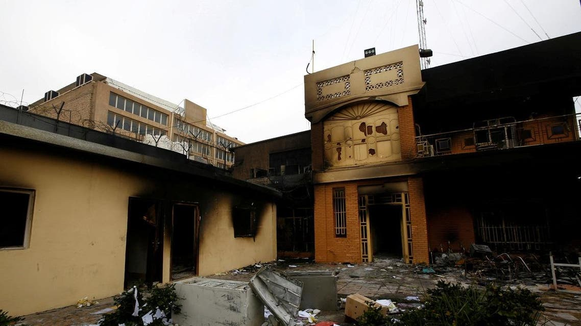 A view of the Iranian consulate after Iraqi demonstrators stormed and set fire to the building during ongoing anti-government protests in Najaf on November 28.. (File photo: Reuters)