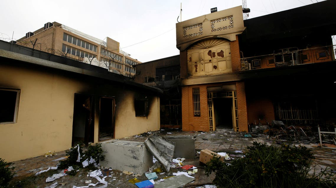 FILE PHOTO: A view of the Iranian consulate after Iraqi demonstrators stormed and set fire to the building during ongoing anti-government protests in Najaf, Iraq November 28, 2019. REUTERS/Alaa al-Marjani/File Photo