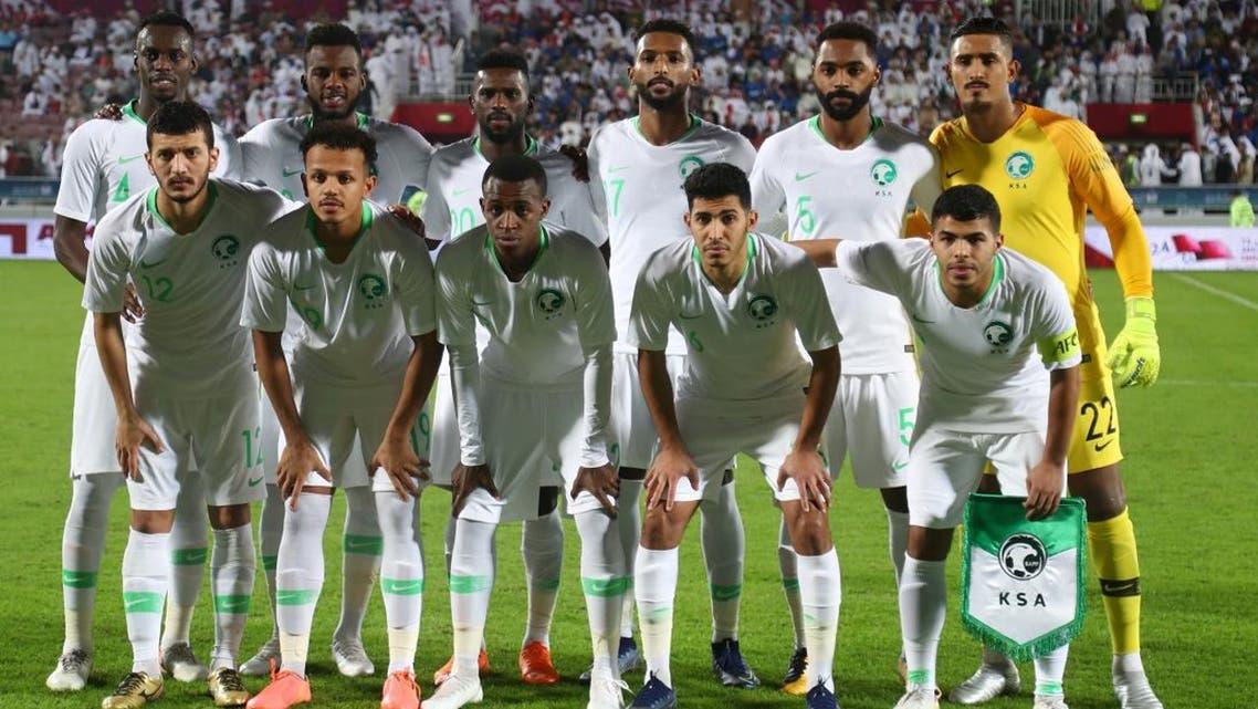 Saudi Arabia players pose for a team group photo before the match at Abdullah bin Khalifa Stadium, Doha, Qatar. (Photo: REUTERS)