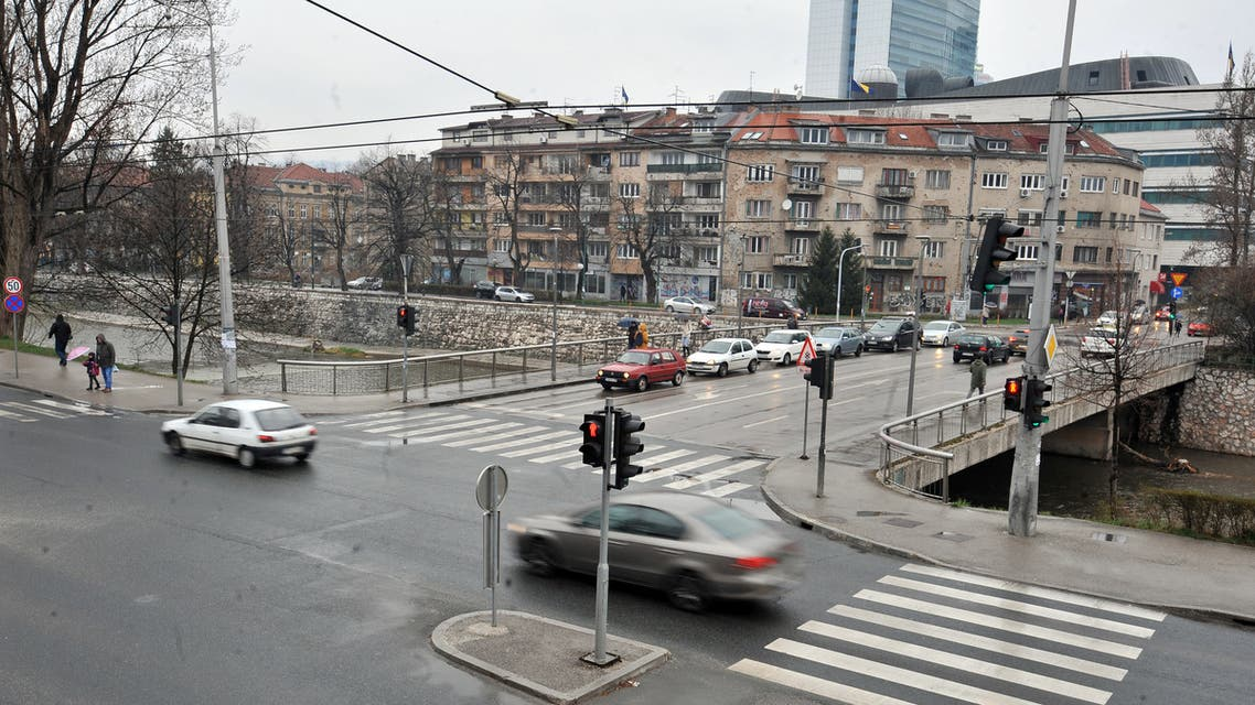 Cars drive on the bridge formerly called Vrbanja bridge, now called Bridge of Suada Dilberovic and Olga Sucic, on March 19, 2019, in Sarajevo. Bridge Vrbanja is the location where first civilian victims fell due to fire from Bosnian Serb positons in April 1992. The first victims were a young Bosnian Muslim woman Suada Dilberovic and her friend, a Bosnian Serb woman, Olga Sucic.