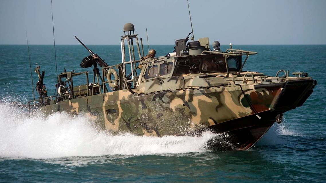 In this Oct. 26 2015, photo provided by the U.S. Navy, Riverine Command Boat (RCB) 802, assigned to Combined Task Group (CTG) 56.7, conducts patrol operations in the Arabian Gulf. (AP)