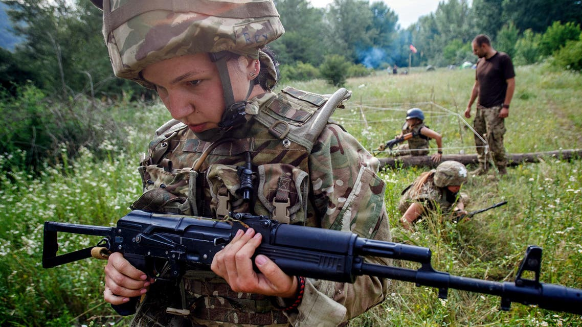 Ukrainian fighters from the far-right Right Sector take part in training exercises ahead of Russia clash - AFP.jpg