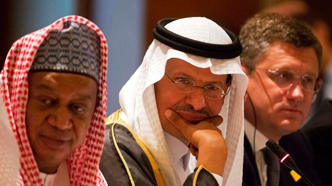 OPEC Secretary-General Mohammed Barkindo, left, Saudi Energy Minister Prince Abdulaziz bin Salman, center, and Russian Energy Minister Alexander Novak, attend a news conference after an OPEC meeting. (File photo: AP)