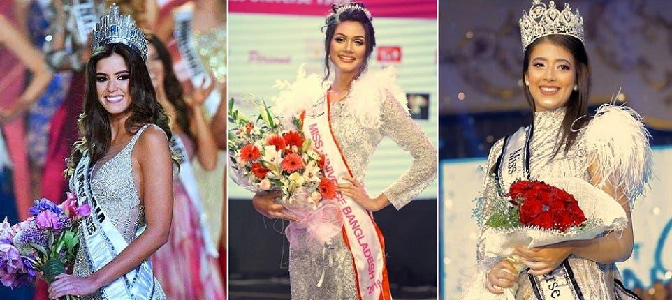 من اليمين، ملكة جمال مصر ديانا حامد، وملكة جمال بنغلادش شيرين شيلا، وملكة جمال كولومبيا، اللبنانية الأصل غبريلا نادر