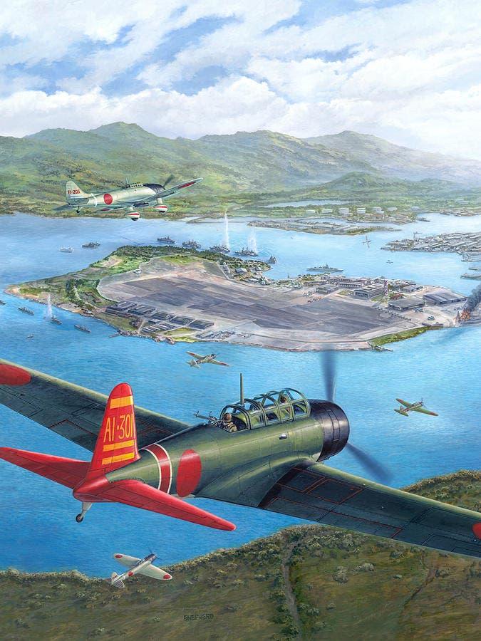 لوحة تخيلية تجسد الهجوم الياباني على قاعدة بيرل هاربر