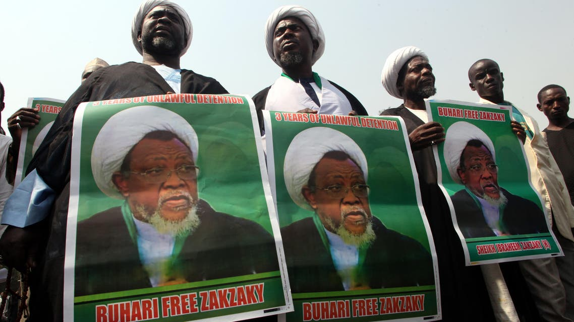 Members of Islamic Movement in Nigeria take part in a demonstration against the detention of their leader Ibrahim El-Zakzaky in Abuja on January 22, 2019. (AFP)