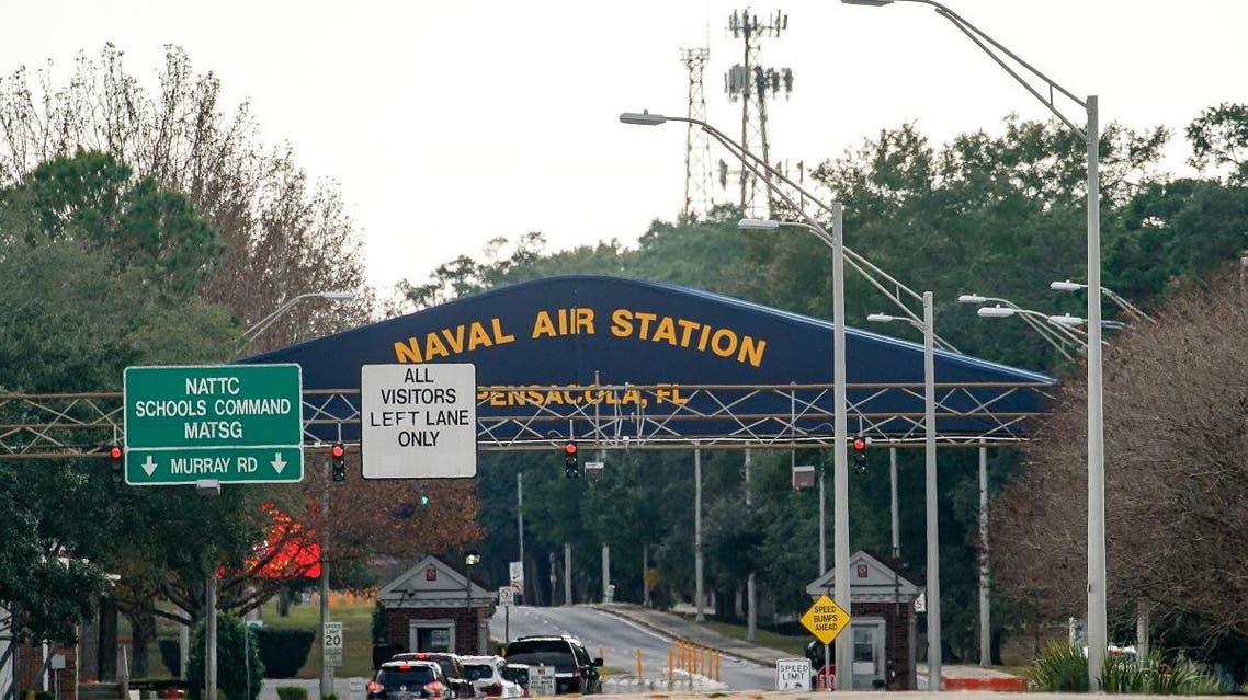 A general view of the atmosphere at the Pensacola Naval Air Station main gate following a shooting on December 6, 2019 in Pensacola, Florida.